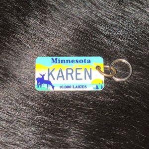 Minnesota Karen license plate keychain